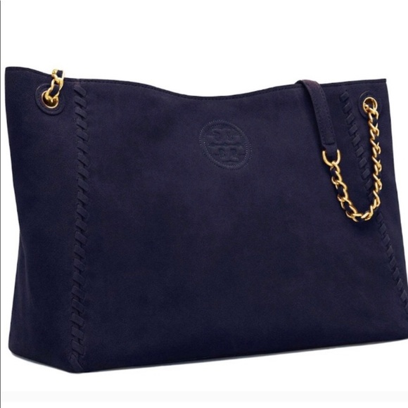 Tory Burch Navy Marion Suede Slouchy Tote